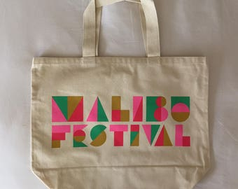 Malibu Festival Silkscreened Canvas Tote Bag - Green/ Pink/ Gold/ Red!