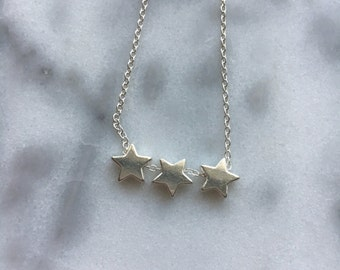 3 STARS Dainty Silver Pendant Necklace