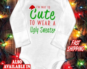 Funny baby christmas one-piece bodysuit shirt - ugly sweater shirt