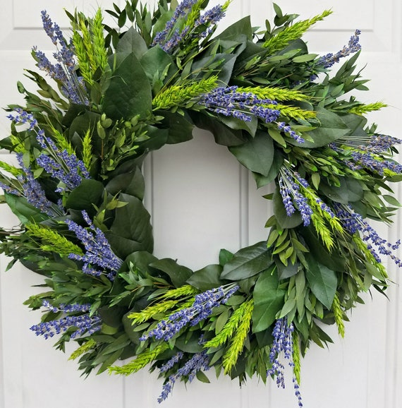 "Lavender wreath, 24"" wreath, dried lavender wreath,  wreath, leaf wreath, preserved wreath, decorative wreath, fragrant wreath"