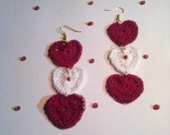 Crocheted Red & White Heart Shaped Earring's!
