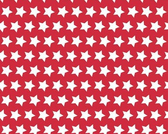 Riley Blake, Basic Stars on Red, White Stars on Red, fabric by the yard