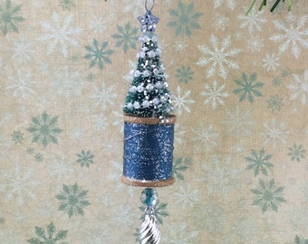 Bottle Brush Tree and Vintage Spool Christmas Ornament Blue and Silver