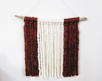Yarn Wall Hanging | Boho | Western | Rust + Off White | Large