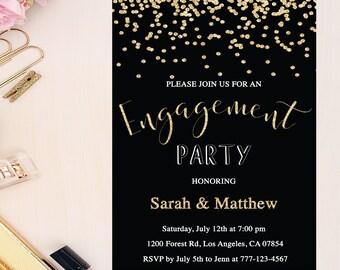 Einladung Zur Verlobung, Gold Und Schwarz Engagement Party Einladung,  Konfetti Engagement Lädt, Goldglitter
