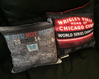 Chicago Cubs World Series Champions Throw Pillows - Wrigley Field Marquee, Chalk Wall ~ We Did Not Suck, Holy Cow, Fly the W, Baseball
