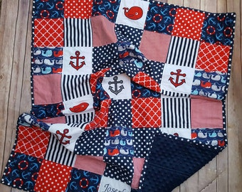Embroidered baby quilt, Blue Anchor Quilt, Nautical crib bedding, Whale Baby boy blanket, Personalized baby quilt, Red and Blue Nautical,