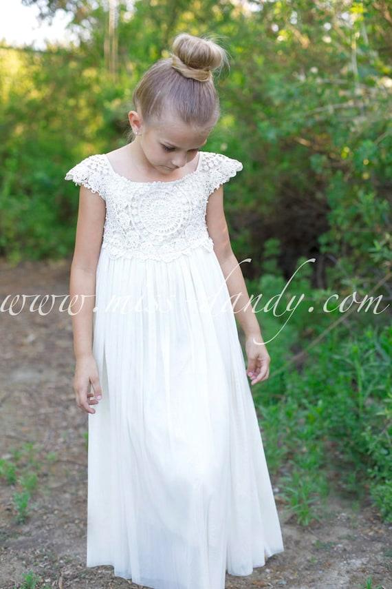 Flower Girl Dress, Flower Girl Lace Dress, Rustic Flower Girl, Crochet Flower Girl, Boho Flower Girl, Ivory Flower Girl Dress, Flower Girl