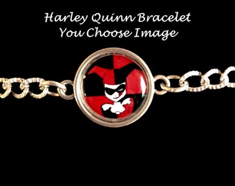 Harley Quinn Bracelet, harley quinn jewelry, harley quinn charms, pendants, silver, suicide quad, jewelry sets, kids jewelry, childrens