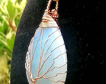 Wire Wrapped Opalite Tree of life necklace