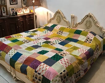 Cool Patchwork King Size Quilt 100% cotton-Reversible-Multipurpose-Ready ship Kantha Quilt, modern cotton quilts, bed quilts sale BDFR64