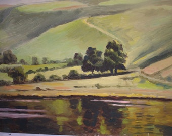Countryside vintage oil painting with hill views. Painted on an aluminium board. From circa 1950's/1960's