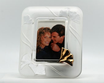 80s glass photo frame