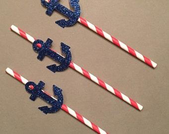 12 Anchor Straws Patriotic Straws Glitter Straws Nautical Straws Red White Blue Straws Baby Shower Straws Shower Straws Birthday Straws
