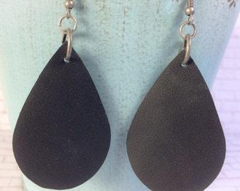 Teardrop leather earrings, black leather teardrop earrings, black leather earrings
