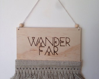 Wander far wood burned wall hanging