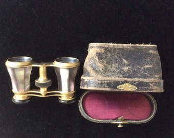 REDUCED! Antique Victorian M.O.P. And Brass French Opera Glasses with Leather and Silk Case,