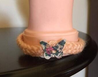 Handmade Crochet Bracelet in Peach