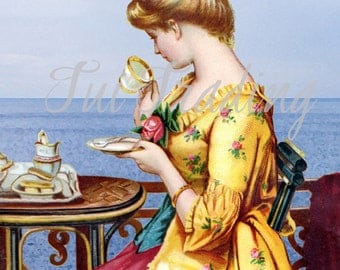 Digital Victorian Lady Portrait, Card Graphic, Tea Party Images, PDF and JPG Files