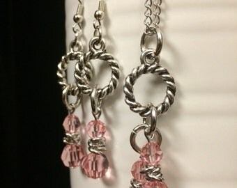 Pink Crystal Necklace and Earrings