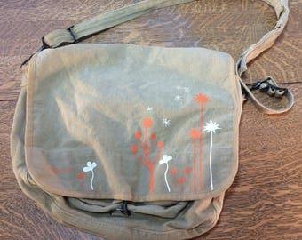 Canvas Art Bag Satchel Printed Beige Color Cotton Paint Drawing Supplies Carrier Vintage Artists Carry All Messenger Bag