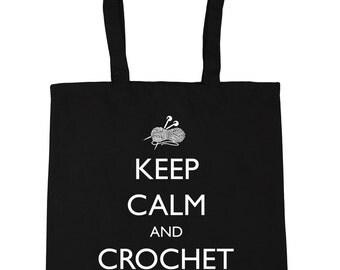 Keep Calm and Crochet On Tote Shopping Gym Beach Bag 42cm x38cm, 10 litres