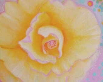 Yellow and Pink Rose Original Painting Yellow Abstract Painting Yellow Flower Wall Art Pink and Yellow Nursery Art for Little Girl's Room