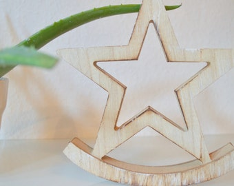 Wooden Star Rocker, American Star, Handmade Rustic Wooden Star, Texas Lone Star State, July 4th Wooden Star Decoration, Painted Wooden Star