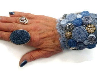 Textile  jeans ring , fiber ring adjustable - Textile jewelry OOAK ready to ship