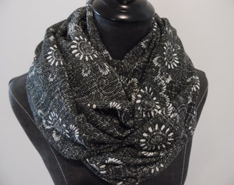 Circle Scarf.Rectangle.Heather Charcoal Floral Liverpool Knit.Slight Textured soft feel.SCARF.Her.Sister.Friend.Daughter.ProductID# SC0053