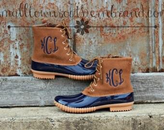 Monogrammed -  Duck Boots - Navy/ Tan