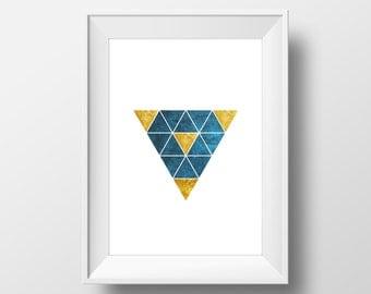 Geometric Teal and Gold Triangle Art Print - Minimalist Print, Modern Art Poster, Minimalist Decor, Geometric Poster, Modern Art Decor