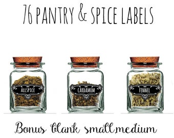 Pantry&Spices  Labels,Hobby Crafting,Printable Spice Labels,Vintage Kitchen Labels,76Spices Labels + Blank Labels,Instant Download