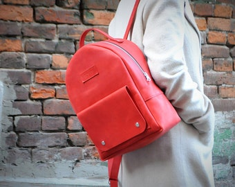 leather backpack, womens backpack, red backpack