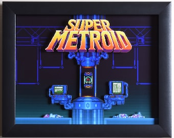"Super Metroid (SNES) - ""Title Screen"" 3D Video Game Shadow Box with Glass Frame"