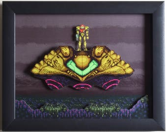 "Super Metroid Shadow Box SNES - ""The Gunship"" 3D Art with Glass Frame"