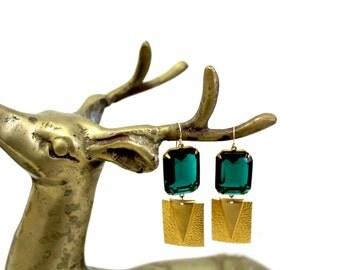 Kelly Green Emerald Crystal Geometric Dangle Gold Filled Ear Wire Earrings