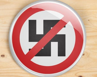 Anti Nazi button - AntiFa pin buttons - set of 2 pinback buttons - nazi scum f*ck off protest pin button