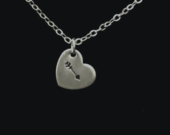 Arrow Heart Hand Stamped Necklace