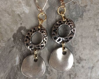 Contemporary Silver with gold accent earrings