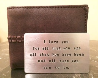 Metal Wallet Card Inserts Custom Hand Stamped