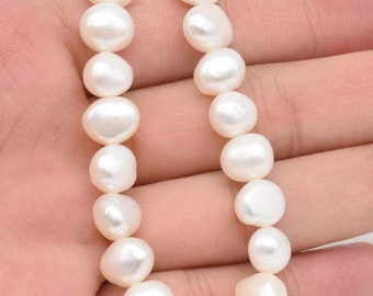 White nugget pearl beads, 8-9mm freshwater pearls, baroque pearl beads strand, natural real loose pearl, good luster, FN450-WS
