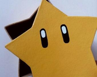 Mario star paper mache storage box