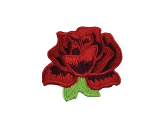 Red Rose Iron On Applique, Floral Iron On Patch, Red Rose Patch, Flower Applique, Rose Applique, Flowers Patch, Embroidered Patch