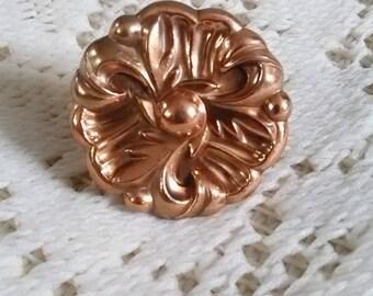 Ornate Vintage knob, hardware, filigree, flower, drawer pull knob, diy drawer hardware, Hollywood Regency