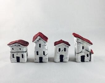 Little Rustic Italian Village Houses Set of 4 Handmade Clay Miniature Figurine Sculpture OOAK