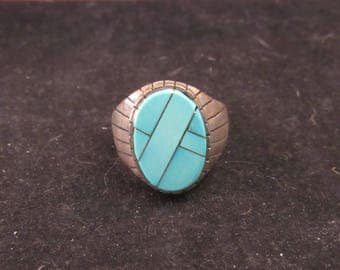 Wonderful Lattice Work Sterling Silver Native Style Turquoise Ring Size 12 (E 751)