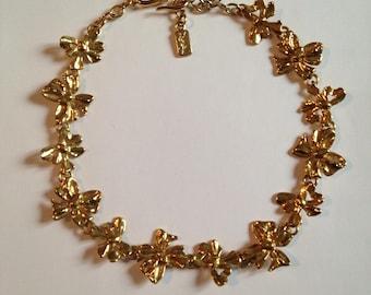 YVES SAINT LAURENT golden years 80's metal necklace
