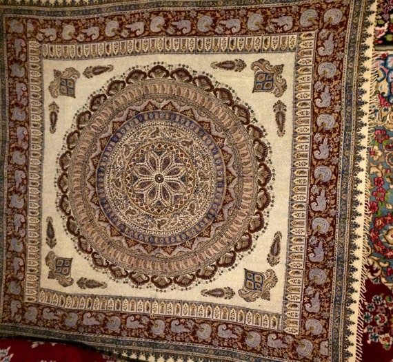 "Large handmade 80"" inches tablecloth , block printed mandala tapestry with Natural dyes , square cotton table-cloth with tassels"