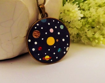 Solar System Necklace. Lovely Vintage Handmade Hand Painted  Cameo Necklace Polymer Clay Jewelry Pendant Nickel Free Metal